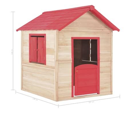 vidaXL Casa de juegos de niños madera roja[9/9]