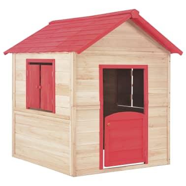 vidaXL Casa de juegos de niños madera roja[2/9]
