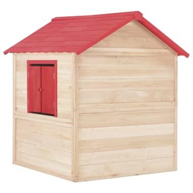 vidaXL Casa de juegos de niños madera roja[4/9]