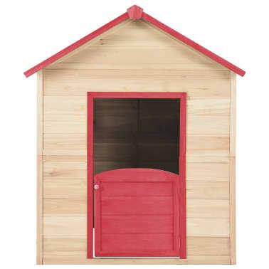 vidaXL Casa de juegos de niños madera roja[5/9]
