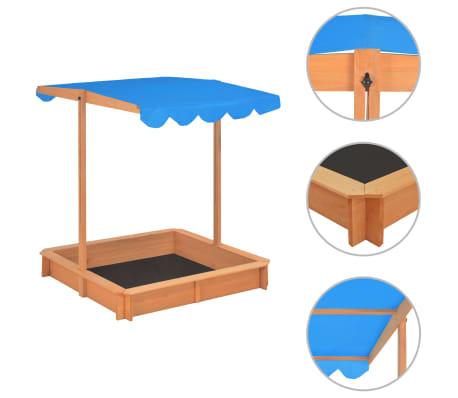 vidaXL Smėlio dėžė su reguliuojamu stogeliu, mėlyna, eglės mediena