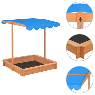 vidaXL Smėlio dėžė su reguliuojamu stogeliu, mėlyna, mediena, UV50[2/10]