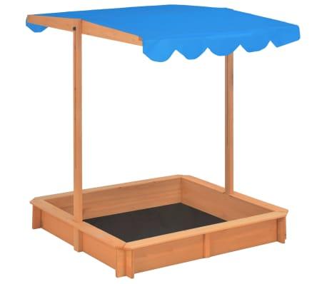 vidaXL Smėlio dėžė su reguliuojamu stogeliu, mėlyna, mediena, UV50[3/10]