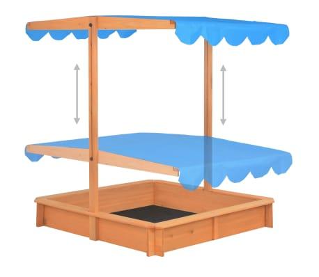 vidaXL Smėlio dėžė su reguliuojamu stogeliu, mėlyna, mediena, UV50[4/10]
