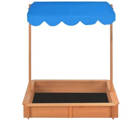 vidaXL Smėlio dėžė su reguliuojamu stogeliu, mėlyna, mediena, UV50[6/10]