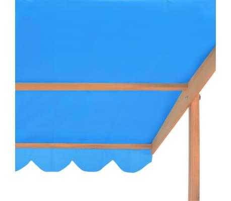 vidaXL Smėlio dėžė su reguliuojamu stogeliu, mėlyna, mediena, UV50[7/10]