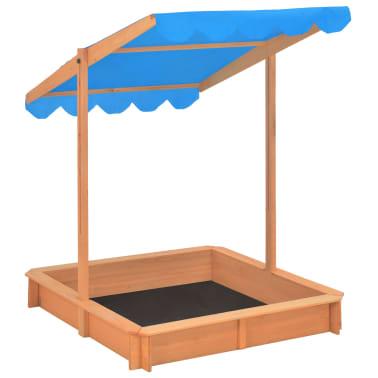 vidaXL Smėlio dėžė su reguliuojamu stogeliu, mėlyna, mediena, UV50[5/10]