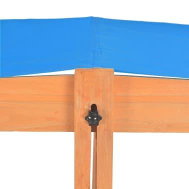 vidaXL Smėlio dėžė su reguliuojamu stogeliu, mėlyna, mediena, UV50[8/10]