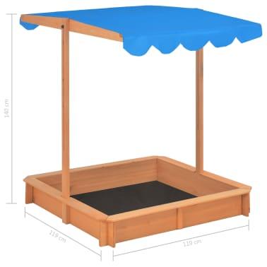 vidaXL Smėlio dėžė su reguliuojamu stogeliu, mėlyna, mediena, UV50[10/10]