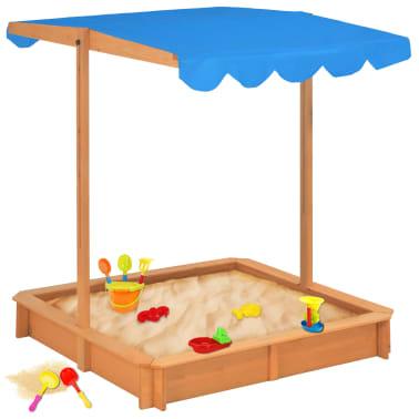 vidaXL Smėlio dėžė su reguliuojamu stogeliu, mėlyna, mediena, UV50[1/10]