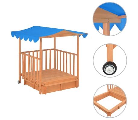 vidaXL Vaikų žaidimų namelis su smėlio dėže, mėlynas, tuopos mediena