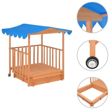 vidaXL Maison de jeu pour enfants avec bac à sable Bois Bleu UV50[2/10]