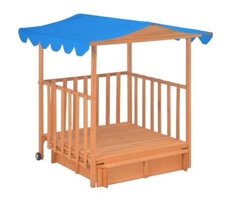 vidaXL Maison de jeu pour enfants avec bac à sable Bois Bleu UV50[3/10]