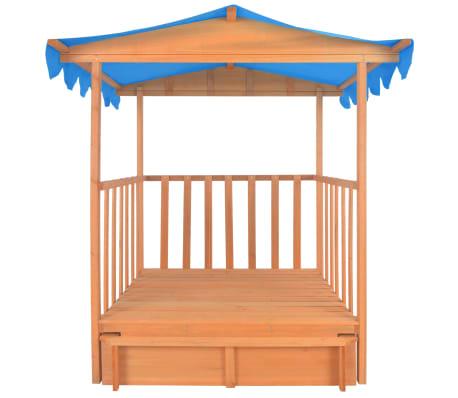 vidaXL Maison de jeu pour enfants avec bac à sable Bois Bleu UV50[4/10]