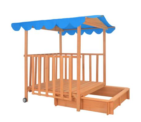 vidaXL Maison de jeu pour enfants avec bac à sable Bois Bleu UV50[6/10]