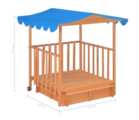 vidaXL Maison de jeu pour enfants avec bac à sable Bois Bleu UV50[10/10]