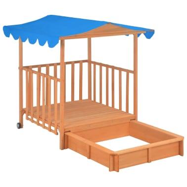 vidaXL Maison de jeu pour enfants avec bac à sable Bois Bleu UV50[5/10]
