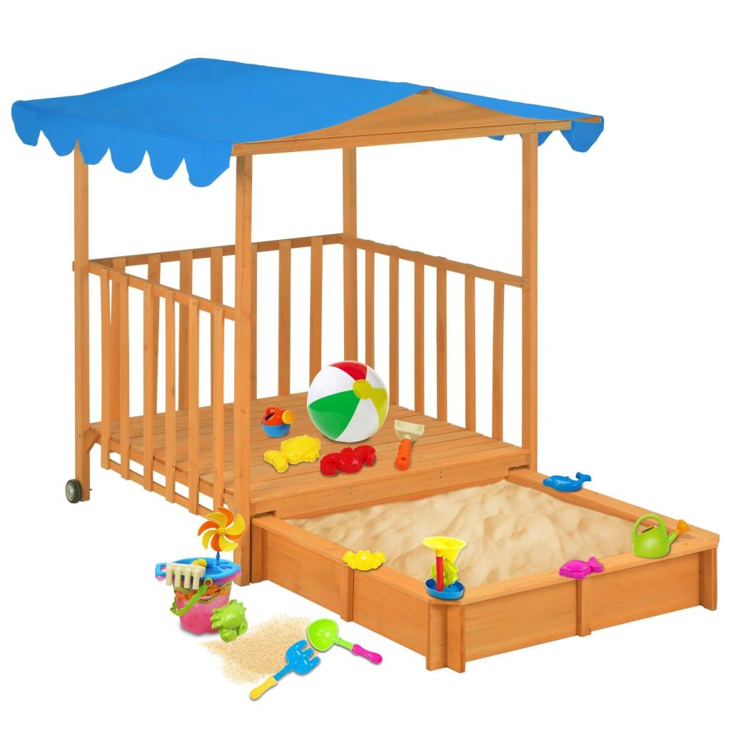 vidaXL Casă de joacă pentru copii cu groapă nisip albastru lemn brad imagine vidaxl.ro