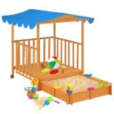 vidaXL Domek z piaskownicą, drewno jodłowe, niebieski, UV50