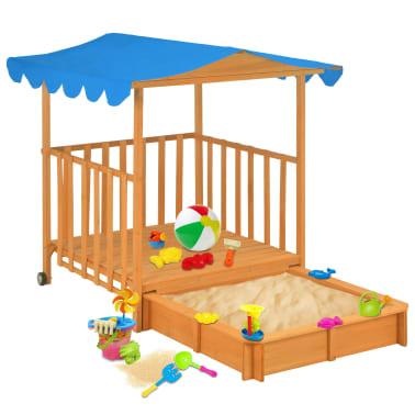 vidaXL Maison de jeu pour enfants avec bac à sable Bois Bleu UV50[1/10]