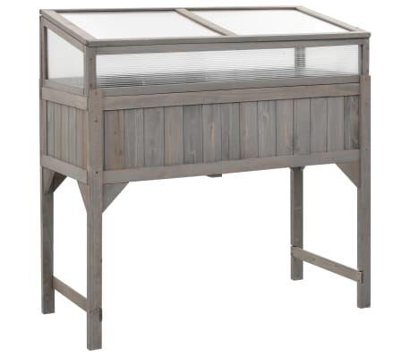 vidaXL Raised Garden Bed with Greenhouse 120x54x120 cm Fir Wood