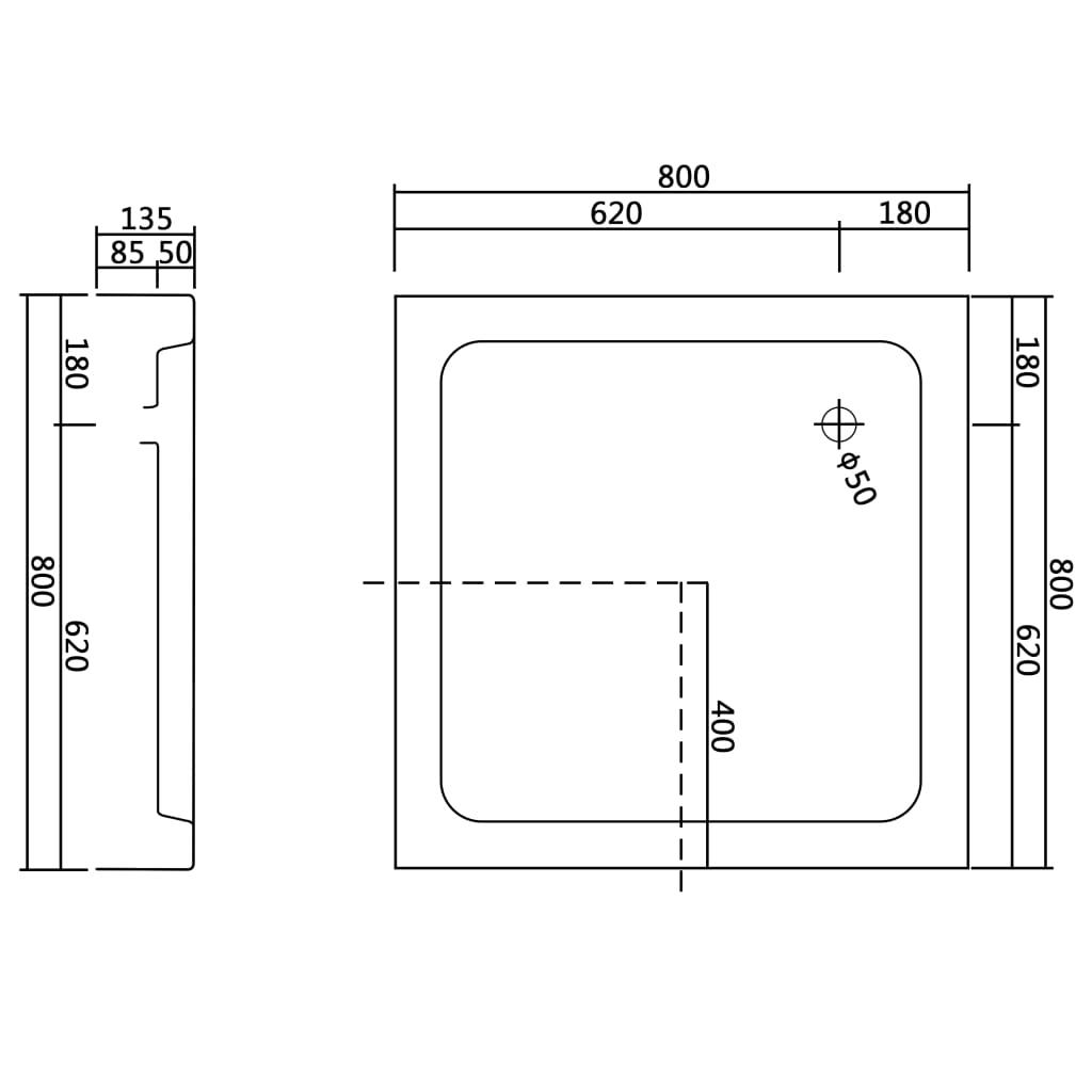 vidaXL-Shower-Base-Tray-80x80x13-5cm-Acrylic-White-Square-Bathroom-Receptacle thumbnail 6