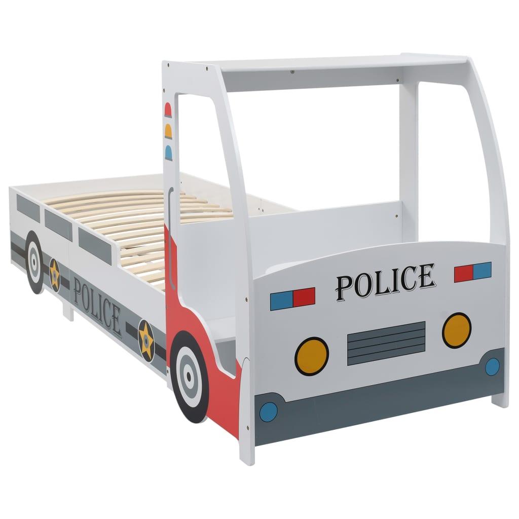 vidaXL Pat de copii cu birou tip mașină de poliție, 90x200 cm vidaxl.ro