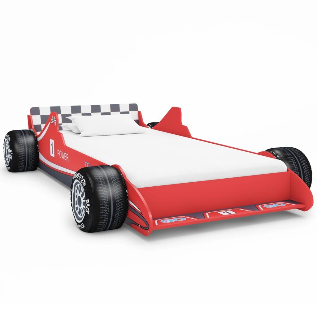 Dětská postel ve tvaru závodního auta 90 x 200 cm červená