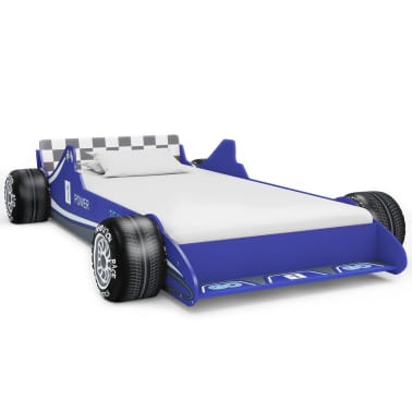 vidaXL Vaikiška lova lenktyninė mašina, 90x200 cm, mėlyna[2/6]