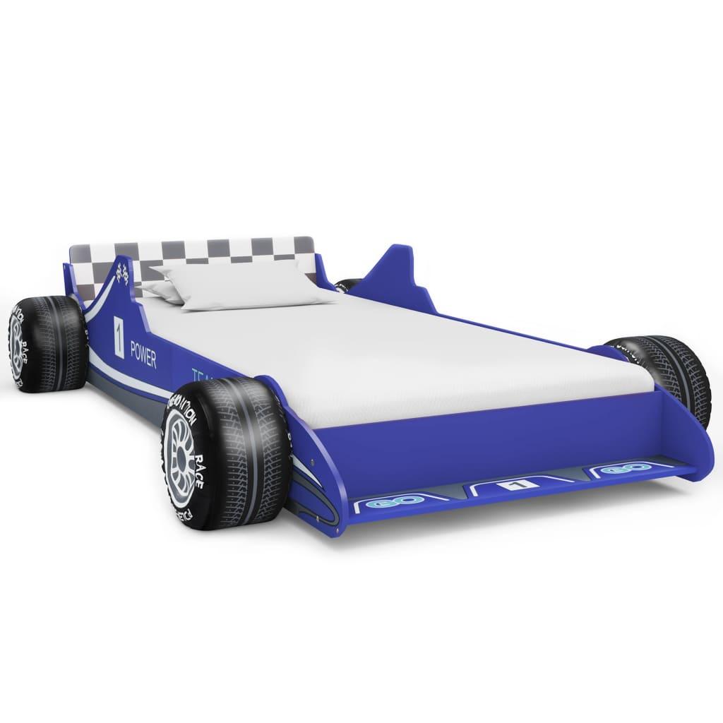 vidaXL Pat pentru copii mașină de curse, albastru, 90 x 200 cm vidaxl.ro