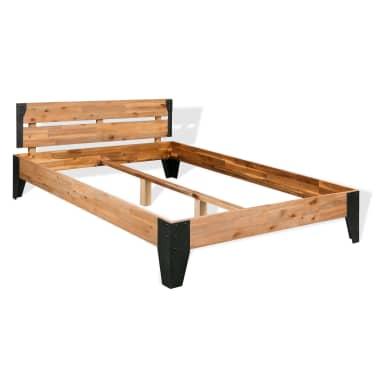 """vidaXL Bed Frame Solid Acacia Wood Steel 59.8""""x79.9""""[1/6]"""