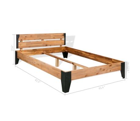 """vidaXL Bed Frame Solid Acacia Wood Steel 59.8""""x79.9""""[6/6]"""