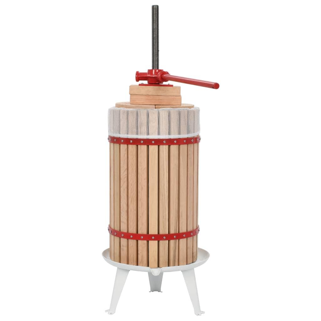 vidaXL Lis na ovoce a víno s textilním vakem 30 l dubové dřevo
