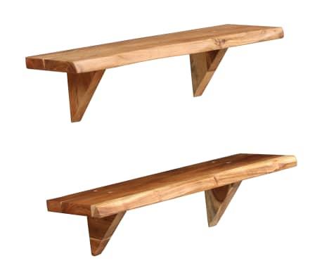 vidaXL Prateleiras de parede 2 pcs 60x20x16cm madeira de acácia maciça