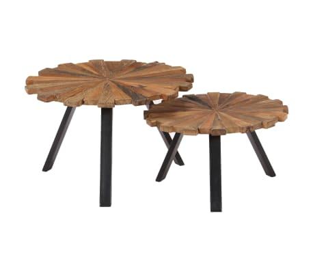 vidaXL Kavos staliukai, 2 vnt., perdirbtos medienos masyvas