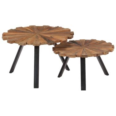 vidaXL Kavos staliukai, 2 vnt., pabėgių medienos masyvas[1/9]