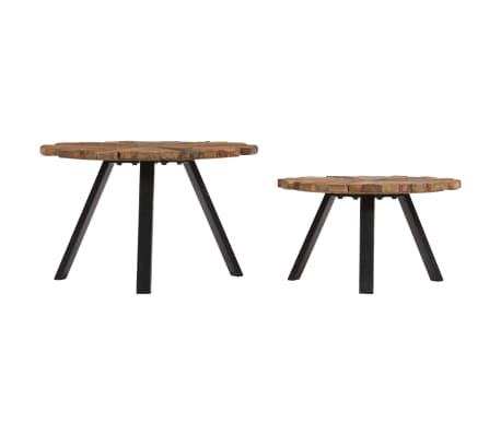 vidaXL Kavos staliukai, 2 vnt., pabėgių medienos masyvas[2/9]