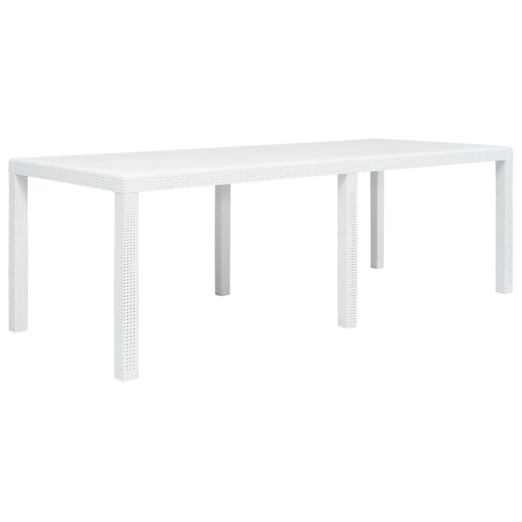 vidaXL Stół ogrodowy, 220x90x72 cm, plastikowy, biały
