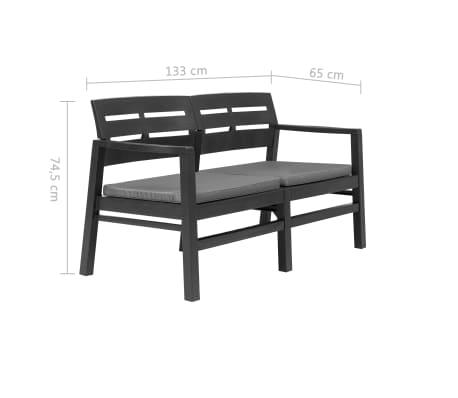 Strange Vidaxl 2 Seater Garden Bench With Cushions 52 4 Plastic Anthracite Beatyapartments Chair Design Images Beatyapartmentscom