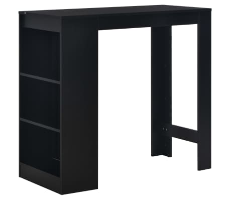 "vidaXL Bar Table with Shelf Black 43.31""x19.69""x40.55"""