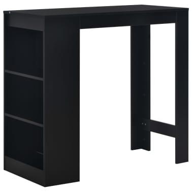 vidaXL Baro stalas su lentyna, juodas, 110x50x103cm[1/6]