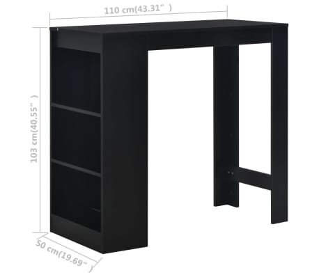 vidaXL Bartafel met schap 110x50x103 cm zwart[6/6]