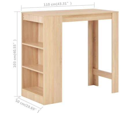 vidaXL Baro stalas su lentyna, ąžuolo sp., 110x50x103cm[6/6]