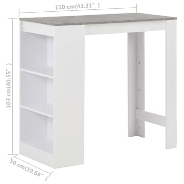 vidaXL Baro stalas su lentyna, baltas, 110x50x103cm[6/6]
