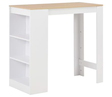 vidaXL Mesa de bar con estantería blanco 110x50x103 cm-picture