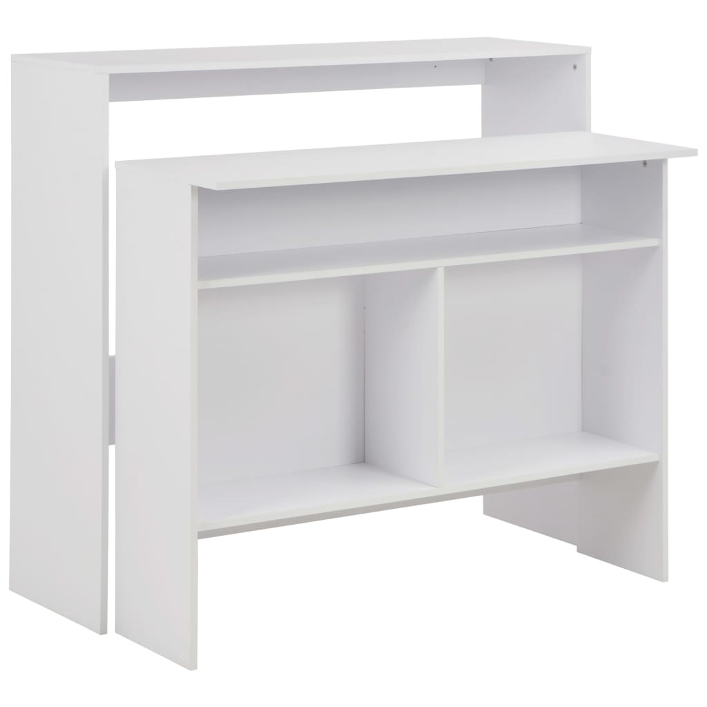 vidaXL Τραπέζι Μπαρ με 2 Επιφάνειες Λευκό 130 x 40 x 120 εκ.