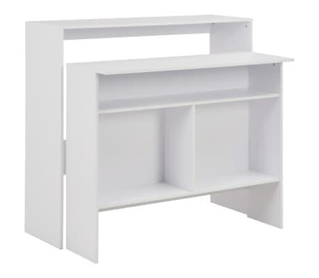 vidaXL Bartisch mit 2 Tischplatten Weiß 130 x 40 x 120 cm