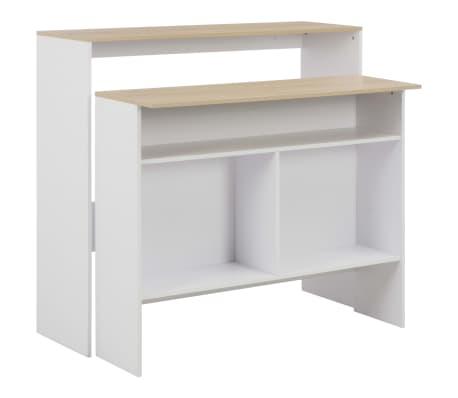 vidaXL Barbord med 2 bordsskivor vit och ek 130x40x120 cm
