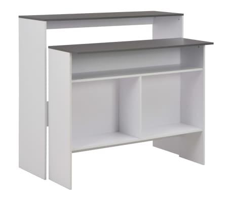 vidaXL Mesa de bar con 2 encimera blanca y gris 130x40x120 cm