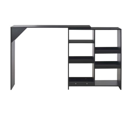 vidaXL Baro stalas su judinama lentyna, juodos sp., 138x40x120cm[3/6]